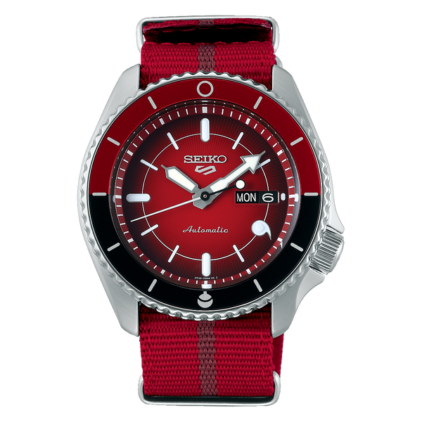 Seiko 5 Sports 100M LE Boruto's Sarada Automatic Men's Watch Red Dial Nylon Strap SRPF67K1 - Diligence1International