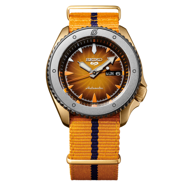 Seiko 5 Sports 100M Naruto Uzumaki LE Automatic Men's Watch Orange Dial Nylon Strap SRPF70K1 - Diligence1International