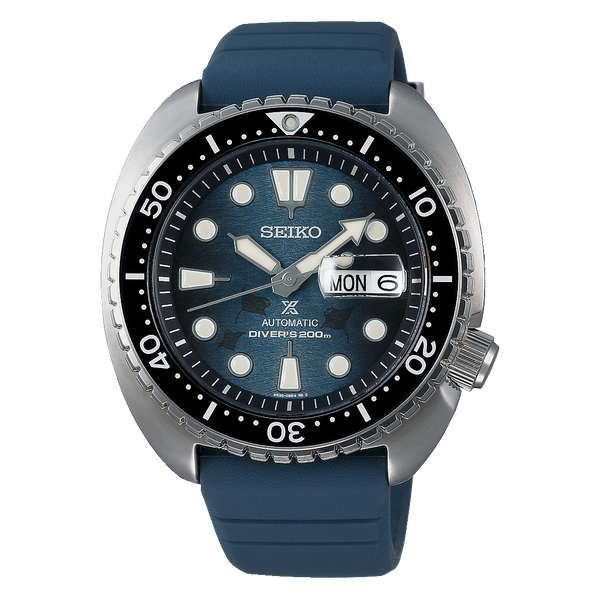Seiko SE Save the Ocean Dark Manta Ray King Turtle Diver's Men's Rubber Strap Watch SRPF77K1 - Diligence1International