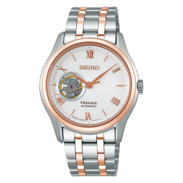 Seiko Presage Karesansui White Open Heart Two Tone Rose Gold Plated Men's Watch SSA412J1 - Diligence1International