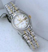Seiko 5 Classic Ladies Size White Dial 2 Tone Gold Plated Stainless Steel Strap Watch SYMA35K1 - Diligence1International