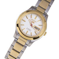 Seiko 5 Classic Ladies Size White Dial 2 Tone Gold Plated Stainless Steel Strap Watch SYMD90K1 - Diligence1International