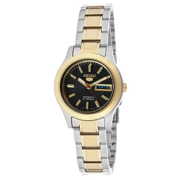 Seiko 5 Classic Ladies Size Black Dial 2 Tone Gold Plated Stainless Steel Strap Watch SYMD94K1 - Diligence1International