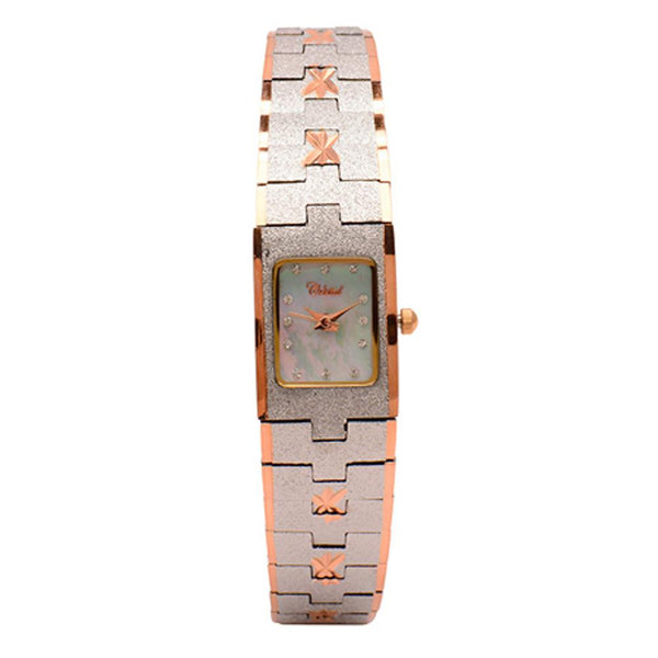 Cristal Ladies' Two-Tone Plated Strap Watch HG3679-RSMPTE - Diligence1International