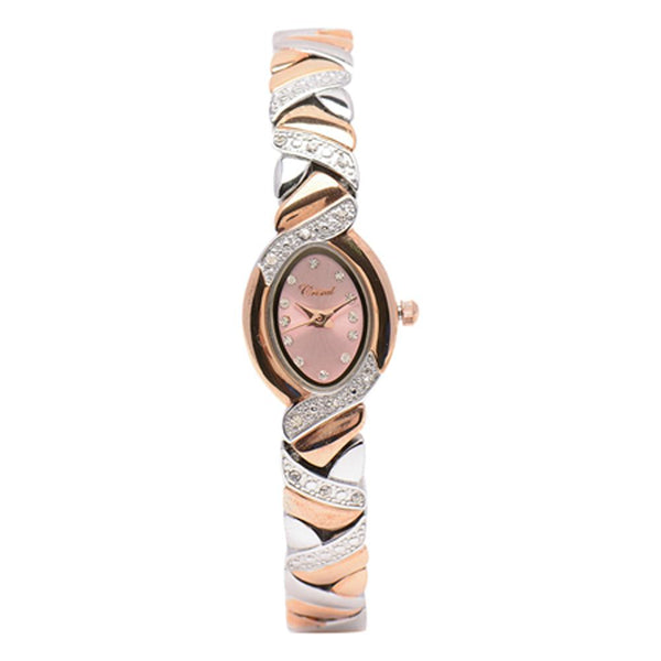 Cristal Ladies' Two-Tone Plated Strap Watch HG3778-RSPKTE - Diligence1International