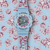 Casio G-Shock S Series Analog-Digital Baby Blue Floral Pattern Strap Ladies' Watch GMAS110F-2ADR - Diligence1International