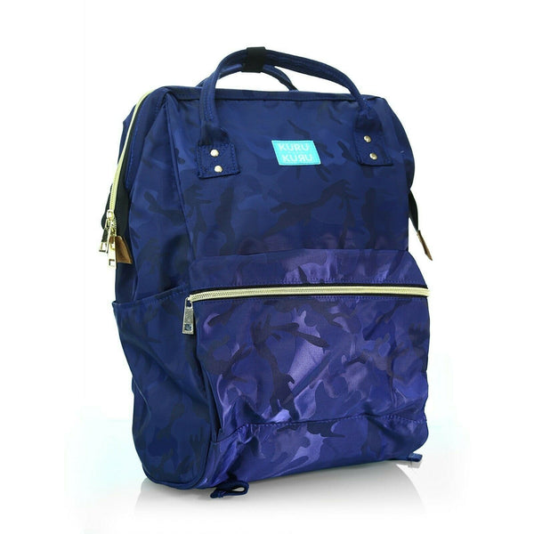 Clothing, Shoes & Accessories:Women:Women's Bags & Handbags - Kuru Kuru クールクール Vitality Backpack Bag Camou Blue Twill VL-81098