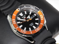 Seiko 5 Sports 100M Black Dial Orange Bezel Men's Rubber Strap Watch SRPC59K1 - Diligence1International