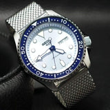 NEW Seiko 5 Sports 100M Automatic Men's Stainless Mesh Strap Watch Blue Bezel Dial SRPE77K1 - Diligence1International