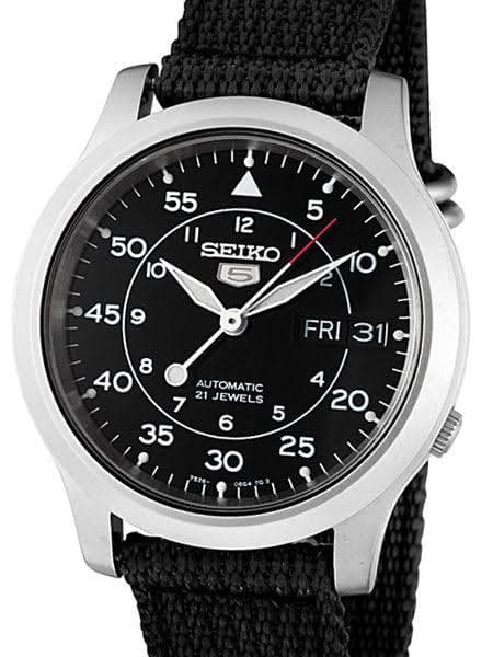 Seiko 5 Sports Military 100M Automatic Men's Watch Black Nylon Strap SNK809K2 - Diligence1International