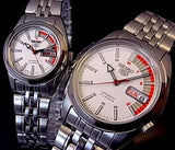Seiko 5 Classic White Dial with Red Bar Couple's Stainless Steel Watch Set SNK369K1+SYMA41K1 - Diligence1International