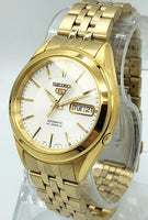 Seiko 5 Classic Mens Size White Dial Gold Plated Stainless Steel Strap Watch SNKL26K1 - Diligence1International