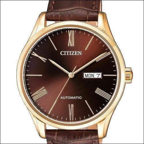 Jewelry & Watches:Watches, Parts & Accessories:Wristwatches - Citizen Elegant Automatic Men's Rose Gold Leather Strap Watch NH8363-14X