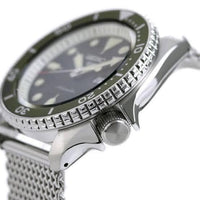 Jewelry & Watches:Watches, Parts & Accessories:Wristwatches - NEW Seiko 5 Sports 100M Automatic Men's Stainless Mesh Strap Watch Green Bezel Dial SRPD75K1