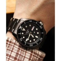 Jewelry & Watches:Watches, Parts & Accessories:Wristwatches - NEW Seiko 5 Sports 100M Automatic Men's Watch ALL Black Bezel Dial IonPlate SRPD65K1