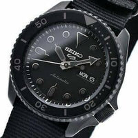 Jewelry & Watches:Watches, Parts & Accessories:Wristwatches - NEW Seiko 5 Sports 100M Automatic Men's Watch ALL BLACK Nylon Strap SRPD79K1