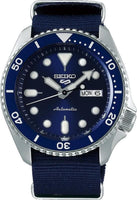 Jewelry & Watches:Watches, Parts & Accessories:Wristwatches - NEW Seiko 5 Sports 100M Automatic Men's Watch Blue Bezel Dial Nylon Strap SRPD51K2