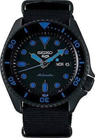 Jewelry & Watches:Watches, Parts & Accessories:Wristwatches - NEW Seiko 5 Sports 100M Automatic Men's Watch Blue Hands Index ALL BLACK Nylon Strap SRPD81K1