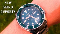 Jewelry & Watches:Watches, Parts & Accessories:Wristwatches - NEW Seiko 5 Sports 100M Automatic Men's Watch HULK Green Bezel Dial SRPD61K1