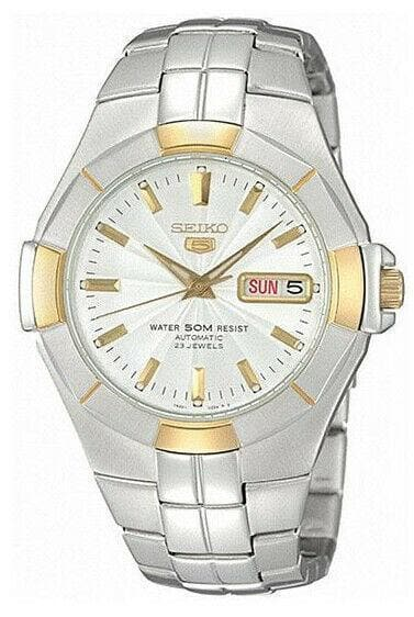 Jewelry & Watches:Watches, Parts & Accessories:Wristwatches - Seiko 5 Classic 50M Mens Size 2 Tone Gold Plated Watch SNZE30K1