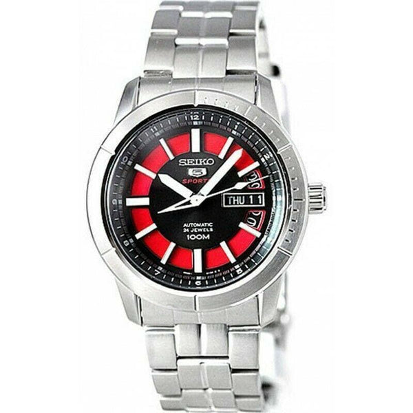 Jewelry & Watches:Watches, Parts & Accessories:Wristwatches - Seiko 5 Sports 100M Automatic Men's Watch Black  With Red Dial SRP339K1