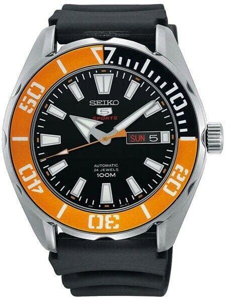Jewelry & Watches:Watches, Parts & Accessories:Wristwatches - Seiko 5 Sports 100M Black Dial Orange Bezel Men's Rubber Strap Watch SRPC59K1