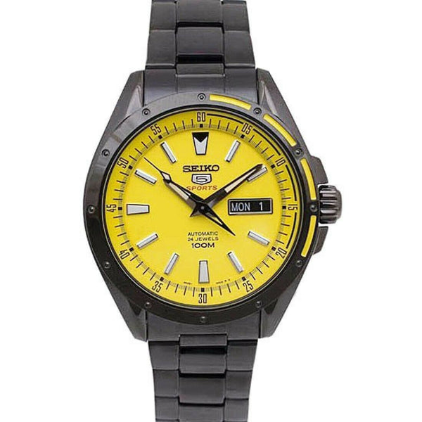 Jewelry & Watches:Watches, Parts & Accessories:Wristwatches - Seiko 5 Sports 100M Men's Yellow Dial Black PVD Stainless Strap Watch SRP159K1
