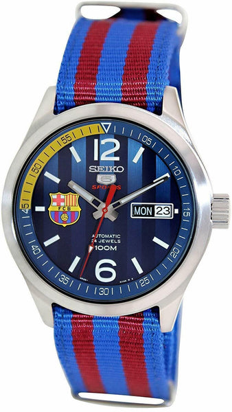 Jewelry & Watches:Watches, Parts & Accessories:Wristwatches - Seiko 5 Sports FC Barcelona 100M  Blue Dial Men's Watch Nylon Strap SRP303K1