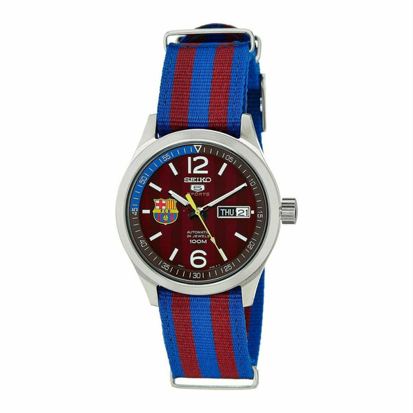 Jewelry & Watches:Watches, Parts & Accessories:Wristwatches - Seiko 5 Sports FC Barcelona 100M  Red Dial Men's Watch Nylon Strap SRP305K1
