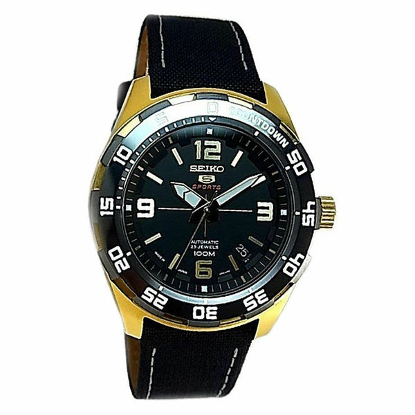 Jewelry & Watches:Watches, Parts & Accessories:Wristwatches - Seiko 5 Sports JAPAN Made 100M Automatic Watch Black Dial Nylon Strap SRPB86J1