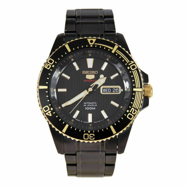 Jewelry & Watches:Watches, Parts & Accessories:Wristwatches - Seiko 5 Sports JAPAN Made 100M Black Ion Plated Automatic Men's Watch SRP558J1