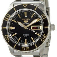 Jewelry & Watches:Watches, Parts & Accessories:Wristwatches - Seiko 5 Sports JAPAN Made Black With Gold Bezel 55 Fathoms Men's Watch SNZH57J1