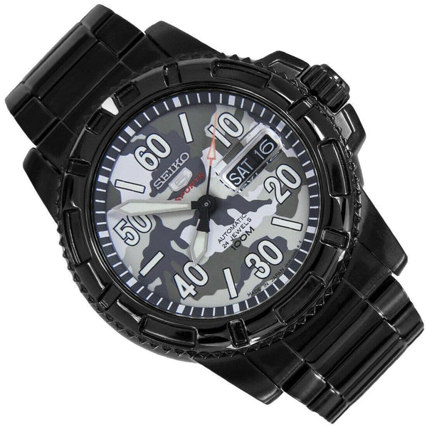 Jewelry & Watches:Watches, Parts & Accessories:Wristwatches - Seiko 5 Sports JAPAN Made Military 100M Camo Black Automatic Mens Watch SRP225J1