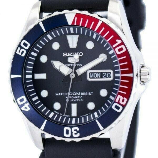 Jewelry & Watches:Watches, Parts & Accessories:Wristwatches - Seiko 5 Sports JAPAN Made Pepsi Sea Urchin Automatic Watch Rubber Strap SNZF15J2
