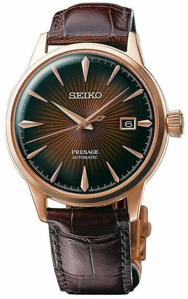 Jewelry & Watches:Watches, Parts & Accessories:Wristwatches - Seiko JAPAN Made Presage Cocktail Rose Gold Plated Men's Watch SRPB46J1