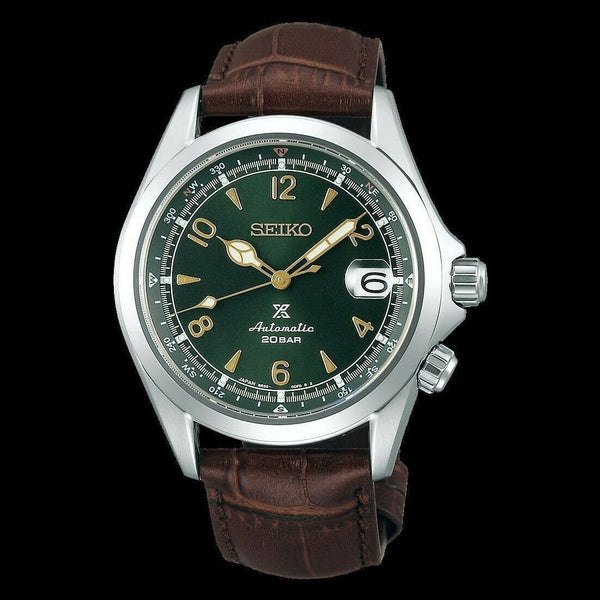 Jewelry & Watches:Watches, Parts & Accessories:Wristwatches - Seiko JAPAN Made Prospex NEW Alpinist Green Men's Leather Strap Watch SPB121J1