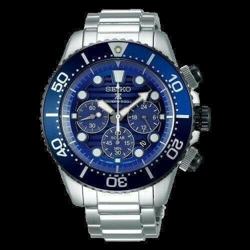 Jewelry & Watches:Watches, Parts & Accessories:Wristwatches - Seiko Save The Ocean Solar Chronograph Blue Dial 200M Diver's Watch SSC675P1