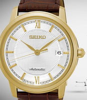 Seiko JAPAN Made Pre- Presage Silver Dial Gold Plated Men's Brown Leather Strap Watch SRPA14J1 - Diligence1International