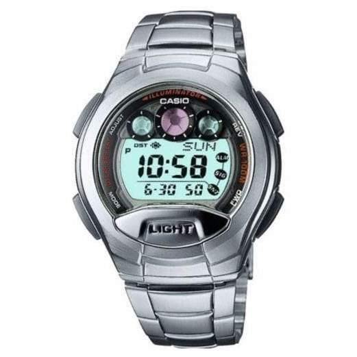 Casio G-Shock Retrograde Digital Red Accents Stainless Steel Watch W755D-1A
