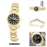 Seiko 5 Classic Ladies Size Black Dial Gold Plated Stainless Steel Strap Watch SYMD96K1 - Diligence1International