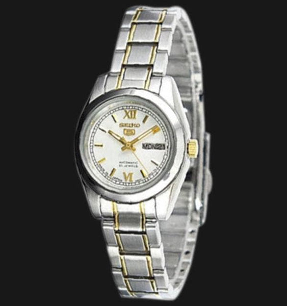 Seiko 5 Classic Ladies Size Silver Dial 2 Tone Gold Plated Stainless Steel Strap Watch SYMK29K1 - Diligence1International