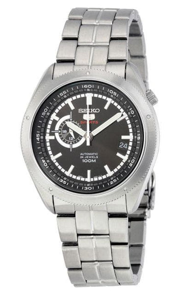 Seiko 5 Sports 100M 24 Hour Sub-Dial Black Men's Stainless Steel Strap Watch SSA065K1 - Diligence1International