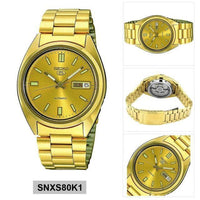 Seiko 5 Classic Mens Size Gold Dial & Plated Stainless Steel Strap Watch SNXS80K1 - Diligence1International
