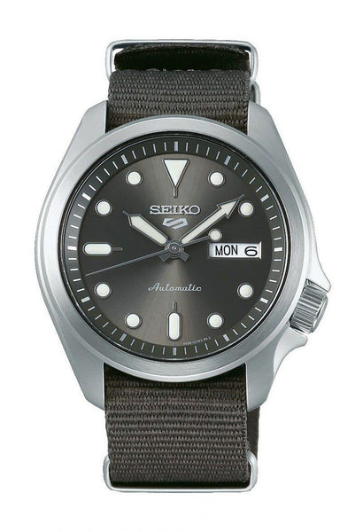 NEW Seiko 5 Sports 100M Automatic Men's Watch Rhodium Grey Nylon Strap SRPE61K1 - Diligence1International