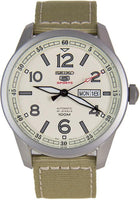 Seiko 5 Sports Military 100M Automatic Men's Watch Creme Tan Canvas Nylon Strap SRP635K1 - Diligence1International