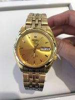 Seiko 5 Classic Mens Size Gold Dial & Plated Stainless Steel Strap Watch SNK366K1 - Diligence1International