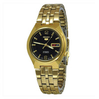 Seiko 5 Classic Mens Size Black Dial Gold Plated Stainless Steel Strap Watch SNKL66K1 - Diligence1International