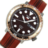 Seiko 5 Sports JAPAN Made Bottle Cap 100M Brown Dial Nylon Strap Watch SRPC68J1