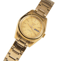 Seiko 5 Classic Ladies Size Gold Dial Gold Plated Stainless Steel Strap Watch SYMK20K1 - Diligence1International