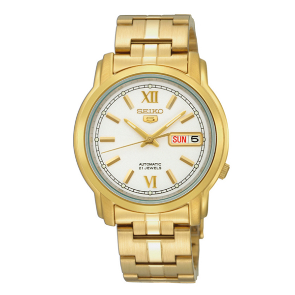 Seiko 5 Classic Mens Size White Dial Gold Plated Stainless Steel Strap Watch SNKK84K1 - Diligence1International